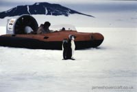 Tiger 4 hovercraft as used in the 70s by the British Antarctic Survey - Proof of the antarctic! Tiger 4 and the penguins (Malcolm Hole).